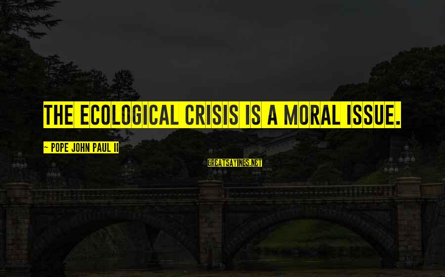 Environmental Issue Sayings By Pope John Paul II: The ecological crisis is a moral issue.