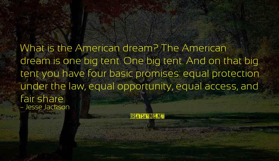 Equal Protection Sayings By Jesse Jackson: What is the American dream? The American dream is one big tent. One big tent.