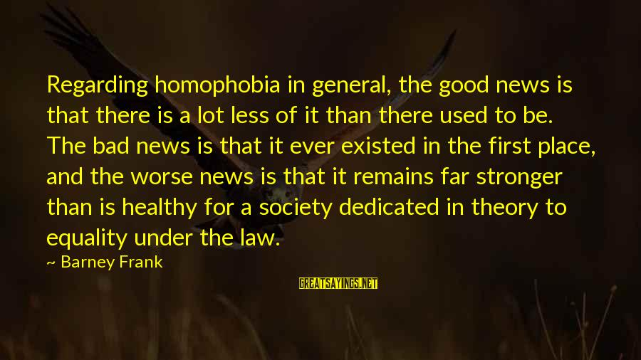Equality In Society Sayings By Barney Frank: Regarding homophobia in general, the good news is that there is a lot less of