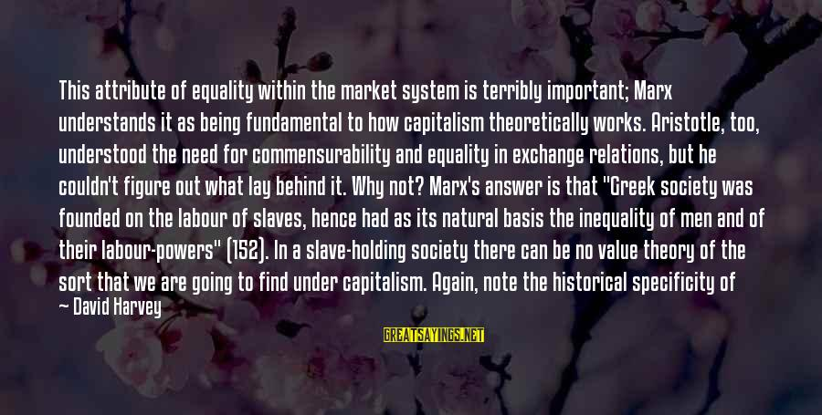 Equality In Society Sayings By David Harvey: This attribute of equality within the market system is terribly important; Marx understands it as