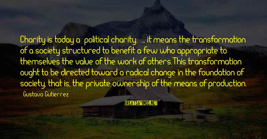 Equality In Society Sayings By Gustavo Gutierrez: Charity is today a 'political charity.' ... it means the transformation of a society structured