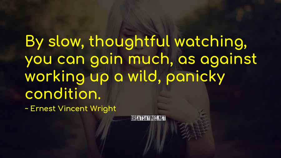 Ernest Vincent Wright Sayings: By slow, thoughtful watching, you can gain much, as against working up a wild, panicky