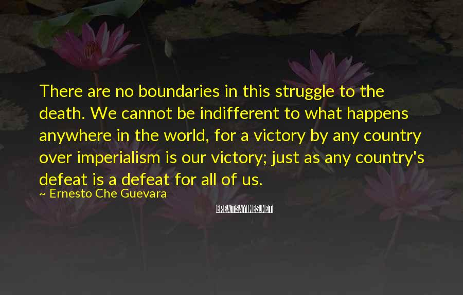 Ernesto Che Guevara Sayings: There are no boundaries in this struggle to the death. We cannot be indifferent to