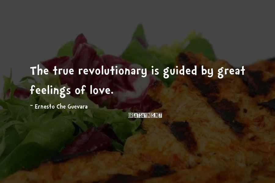 Ernesto Che Guevara Sayings: The true revolutionary is guided by great feelings of love.