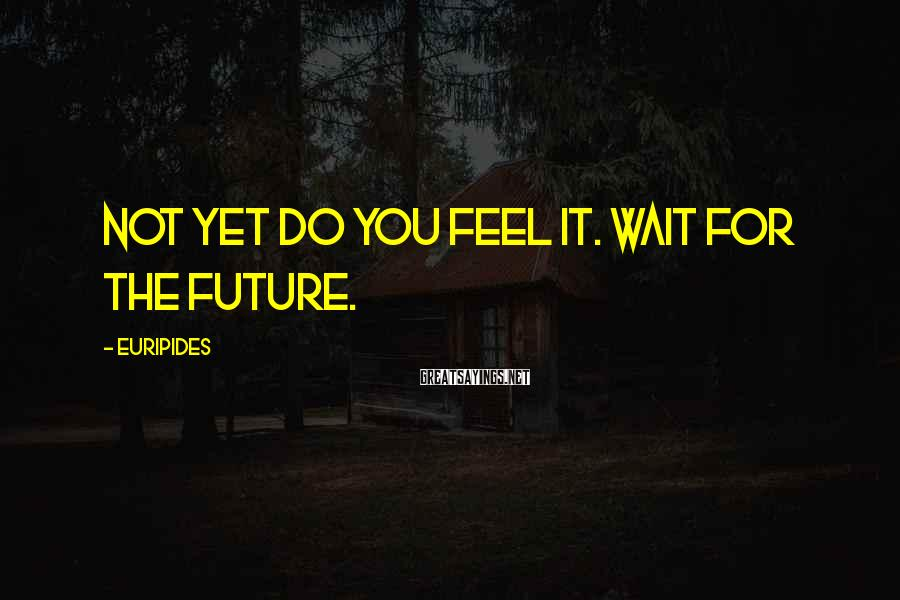 Euripides Sayings: Not yet do you feel it. Wait for the future.