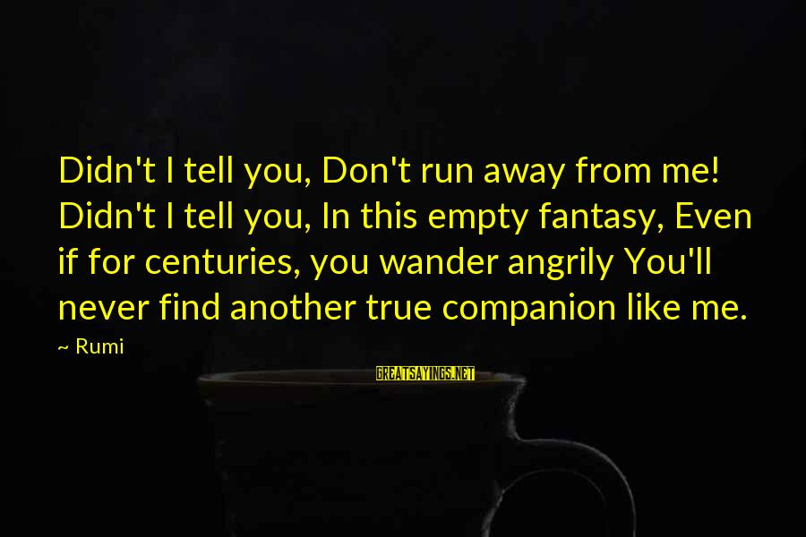 Even If You Don't Like Me Sayings By Rumi: Didn't I tell you, Don't run away from me! Didn't I tell you, In this
