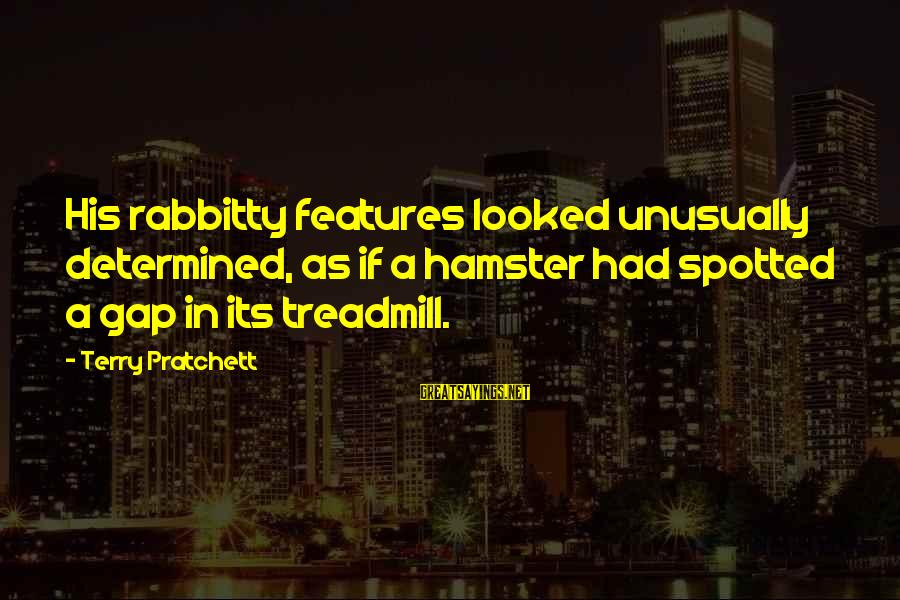 Every Girl Deserves Flowers Sayings By Terry Pratchett: His rabbitty features looked unusually determined, as if a hamster had spotted a gap in