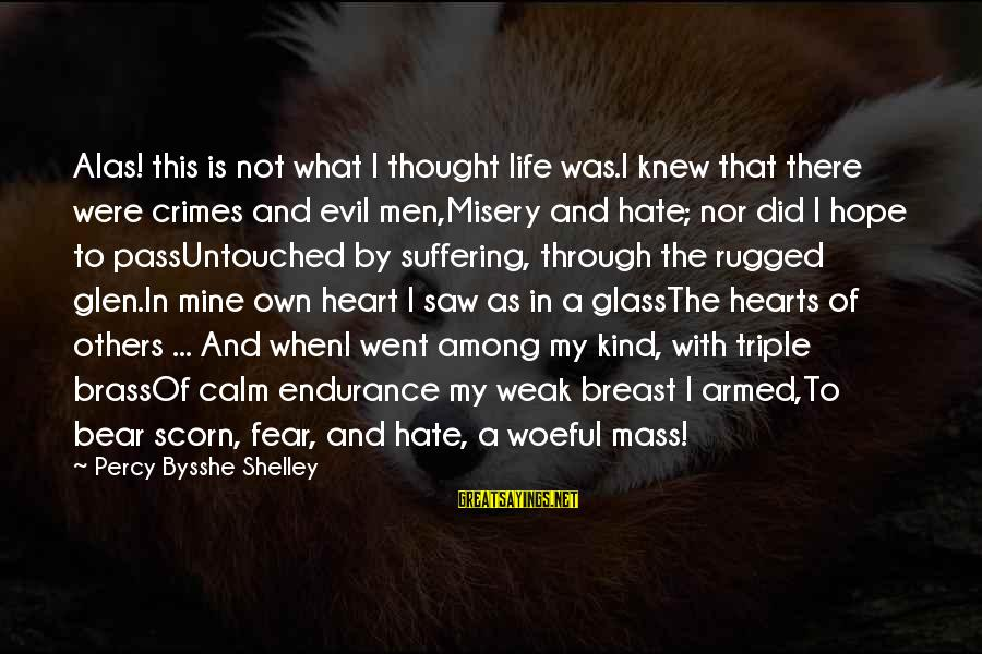Evil Hearts Sayings By Percy Bysshe Shelley: Alas! this is not what I thought life was.I knew that there were crimes and