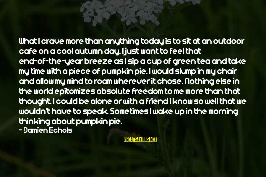 Ex Friend Sayings By Damien Echols: What I crave more than anything today is to sit at an outdoor cafe on