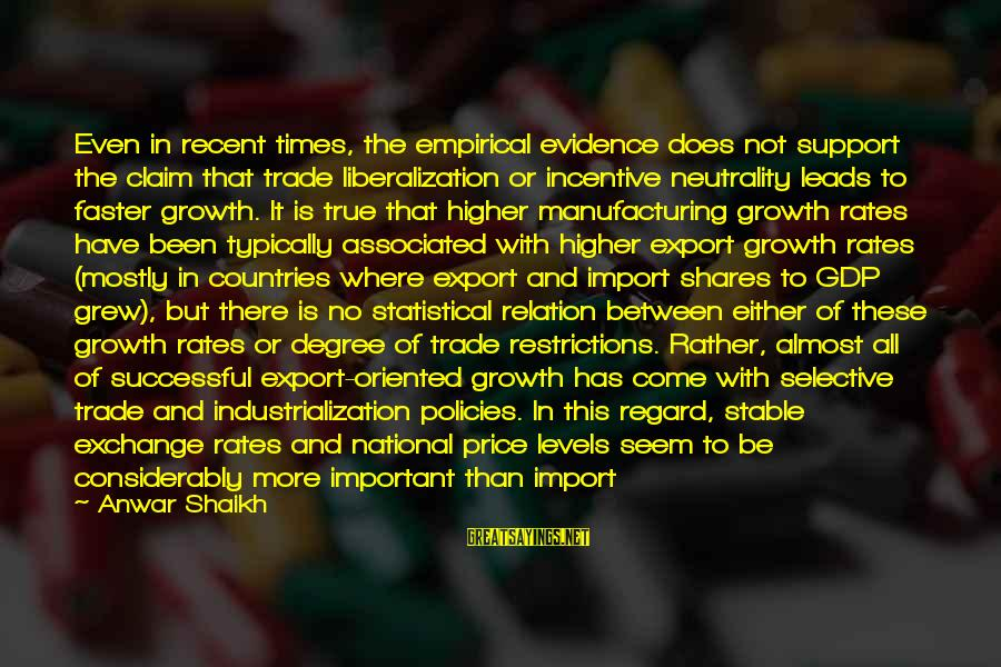 Exchange Rates Sayings By Anwar Shaikh: Even in recent times, the empirical evidence does not support the claim that trade liberalization