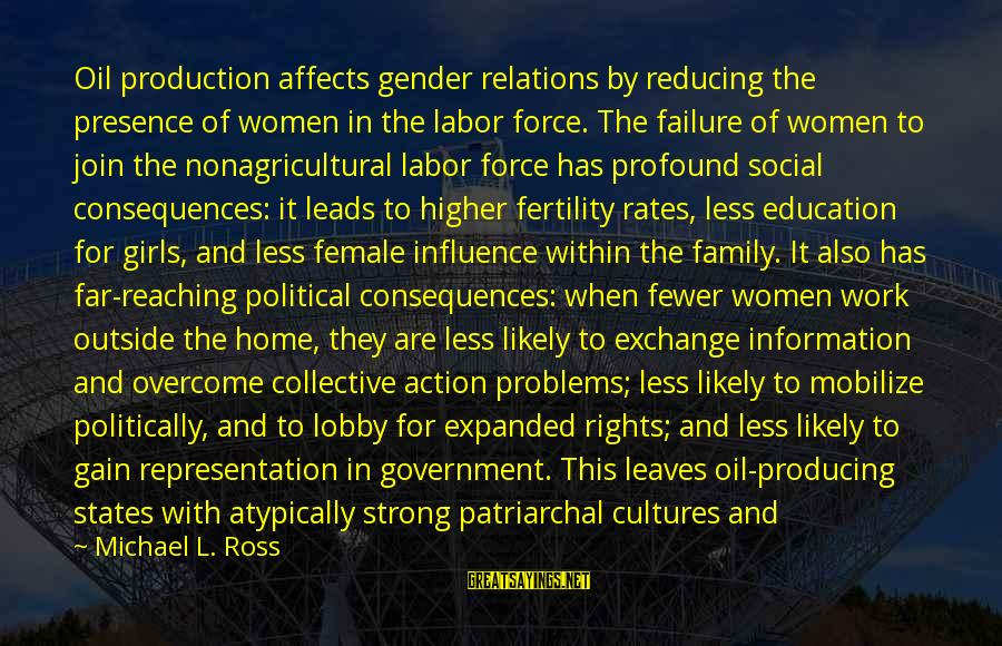 Exchange Rates Sayings By Michael L. Ross: Oil production affects gender relations by reducing the presence of women in the labor force.