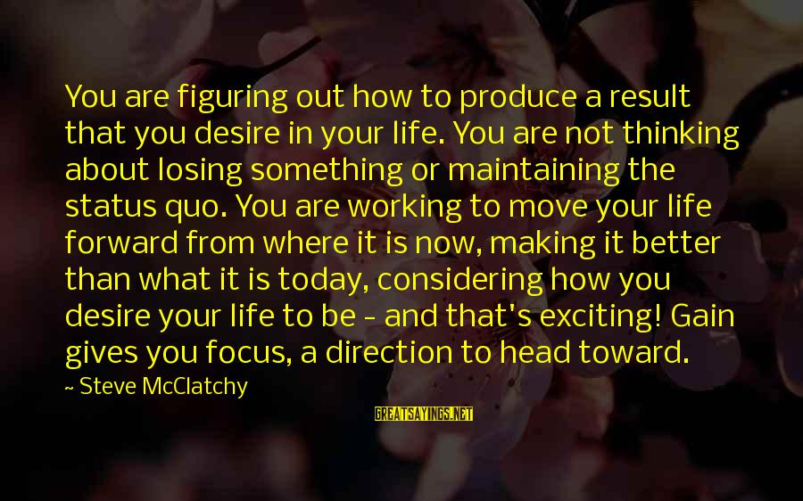 Exciting Life Sayings By Steve McClatchy: You are figuring out how to produce a result that you desire in your life.