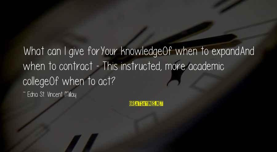 Expand Your Knowledge Sayings By Edna St. Vincent Millay: What can I give forYour knowledgeOf when to expandAnd when to contract - This instructed,