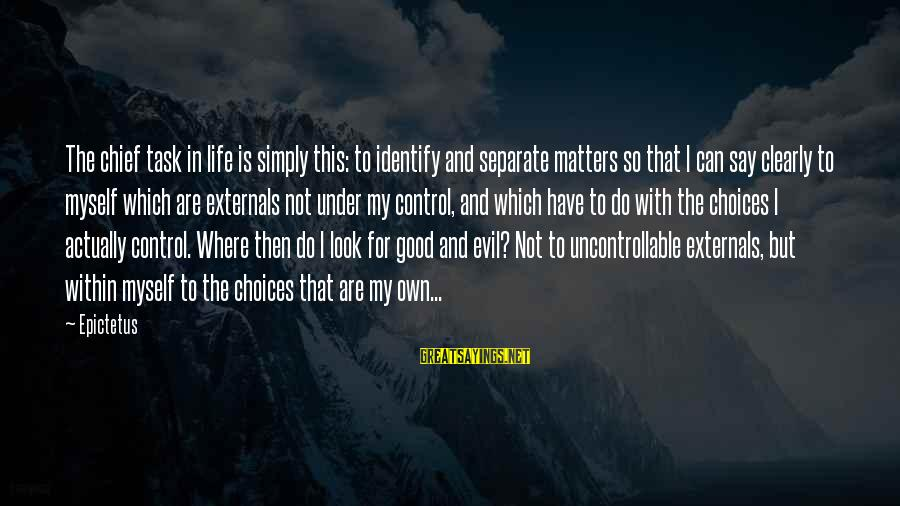 Externals Sayings By Epictetus: The chief task in life is simply this: to identify and separate matters so that