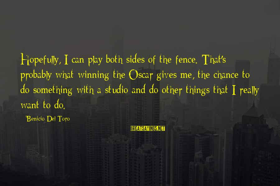 Eyelets Sayings By Benicio Del Toro: Hopefully, I can play both sides of the fence. That's probably what winning the Oscar