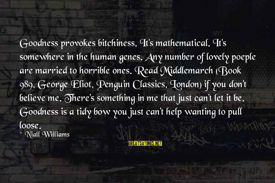 F U Penguin Book Sayings By Niall Williams: Goodness provokes bitchiness. It's mathematical. It's somewhere in the human genes. Any number of lovely