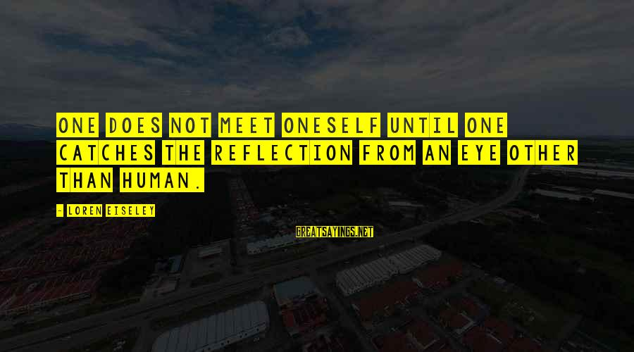 Fable Iii Sayings By Loren Eiseley: One does not meet oneself until one catches the reflection from an eye other than