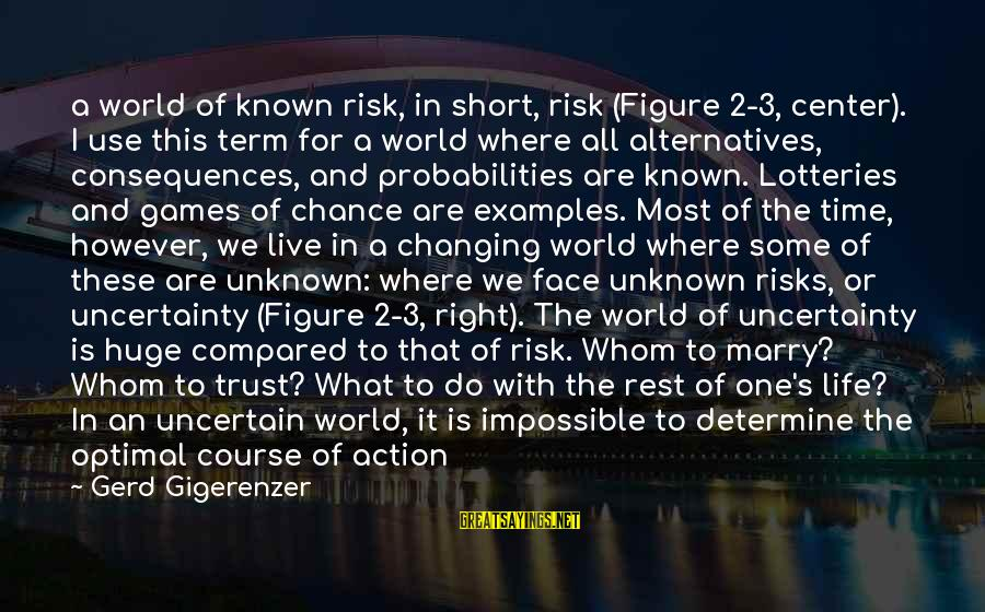 Face The Unknown Sayings By Gerd Gigerenzer: a world of known risk, in short, risk (Figure 2-3, center). I use this term