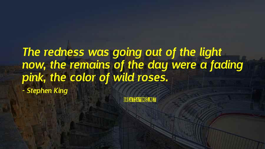 Fading Out Sayings By Stephen King: The redness was going out of the light now, the remains of the day were