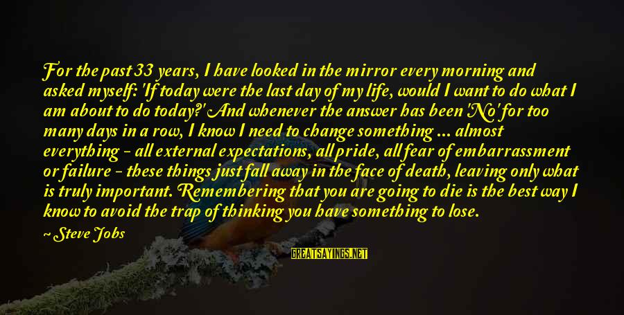 Failure Embarrassment Sayings By Steve Jobs: For the past 33 years, I have looked in the mirror every morning and asked