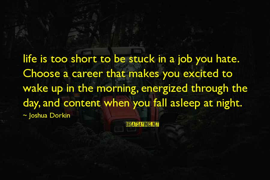 Fall Asleep Sayings By Joshua Dorkin: life is too short to be stuck in a job you hate. Choose a career