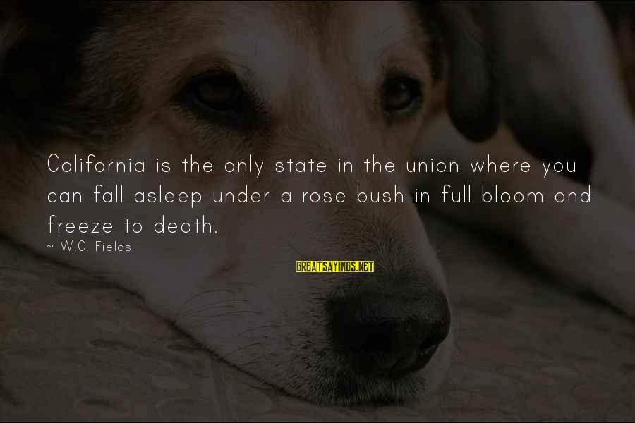 Fall Asleep Sayings By W.C. Fields: California is the only state in the union where you can fall asleep under a