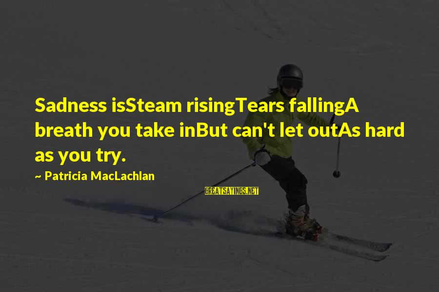 Falling In You Sayings By Patricia MacLachlan: Sadness isSteam risingTears fallingA breath you take inBut can't let outAs hard as you try.