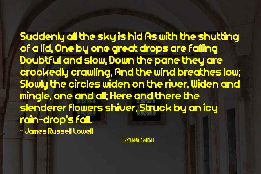 Falling Slowly For You Sayings By James Russell Lowell: Suddenly all the sky is hid As with the shutting of a lid, One by