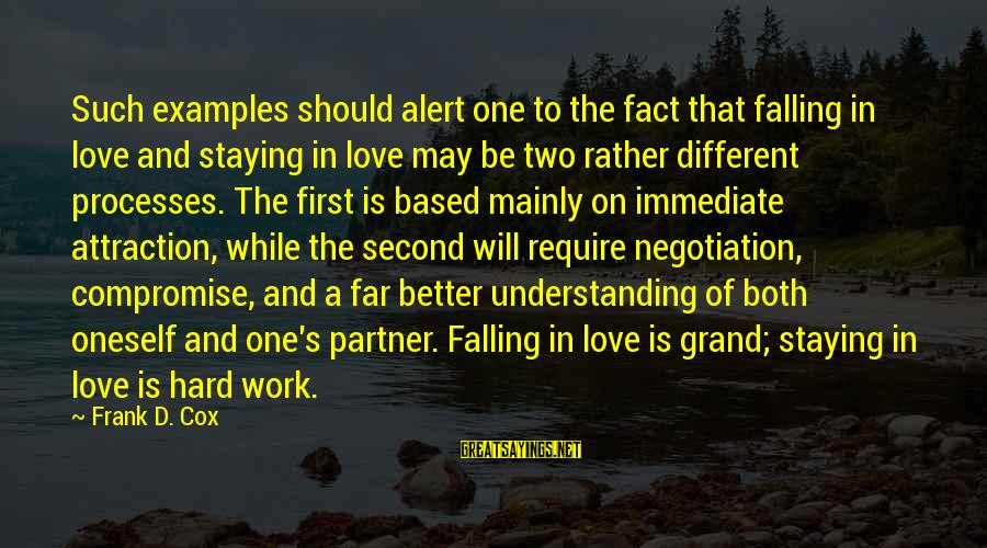 Falling Too Hard Sayings By Frank D. Cox: Such examples should alert one to the fact that falling in love and staying in