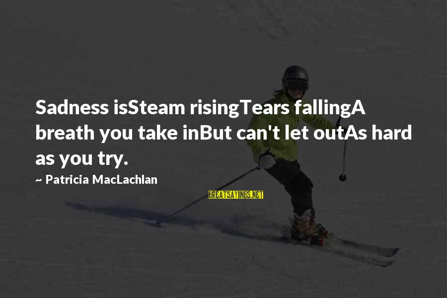 Falling Too Hard Sayings By Patricia MacLachlan: Sadness isSteam risingTears fallingA breath you take inBut can't let outAs hard as you try.