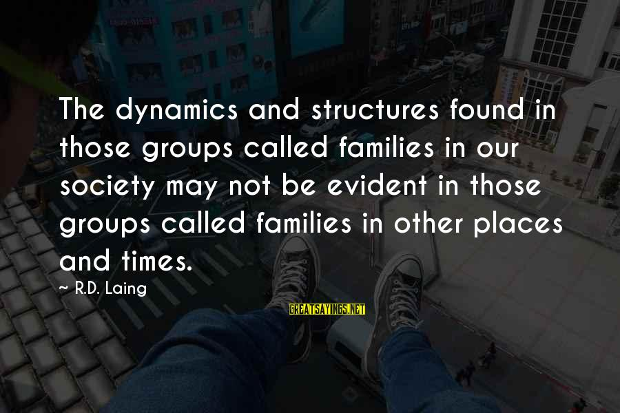 Families And Society Sayings By R.D. Laing: The dynamics and structures found in those groups called families in our society may not