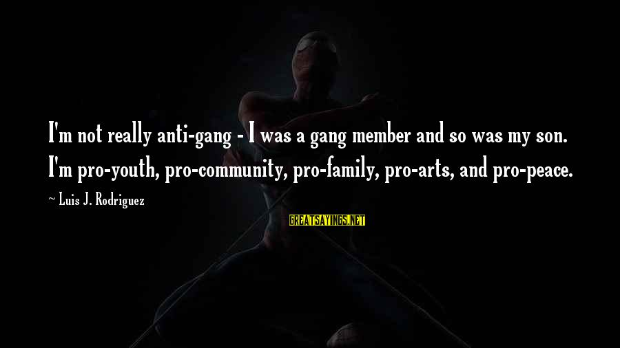 Family And Community Sayings By Luis J. Rodriguez: I'm not really anti-gang - I was a gang member and so was my son.