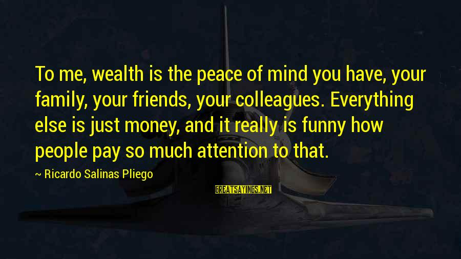 Family And Friends Funny Sayings By Ricardo Salinas Pliego: To me, wealth is the peace of mind you have, your family, your friends, your