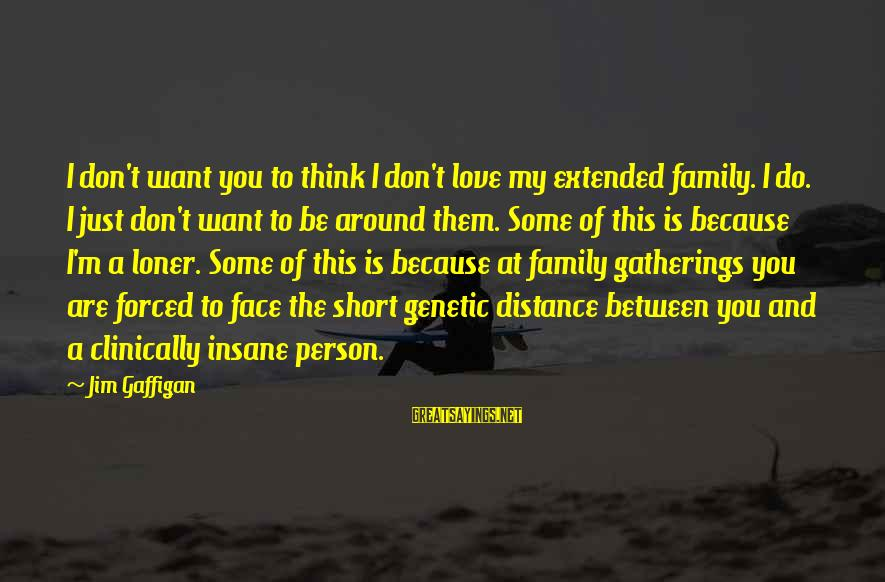Family At A Distance Sayings By Jim Gaffigan: I don't want you to think I don't love my extended family. I do. I