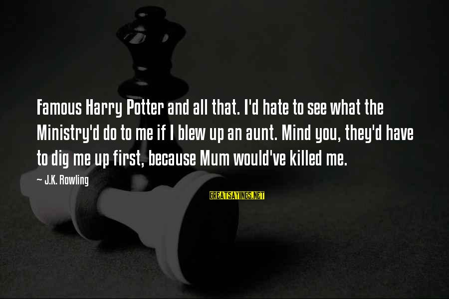 Famous Sayings By J.K. Rowling: Famous Harry Potter and all that. I'd hate to see what the Ministry'd do to
