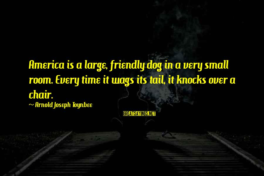 Fat And Fabulous Sayings By Arnold Joseph Toynbee: America is a large, friendly dog in a very small room. Every time it wags