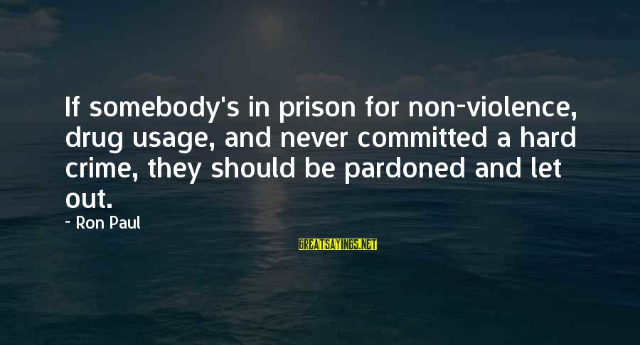 Fat Cuz Sayings By Ron Paul: If somebody's in prison for non-violence, drug usage, and never committed a hard crime, they