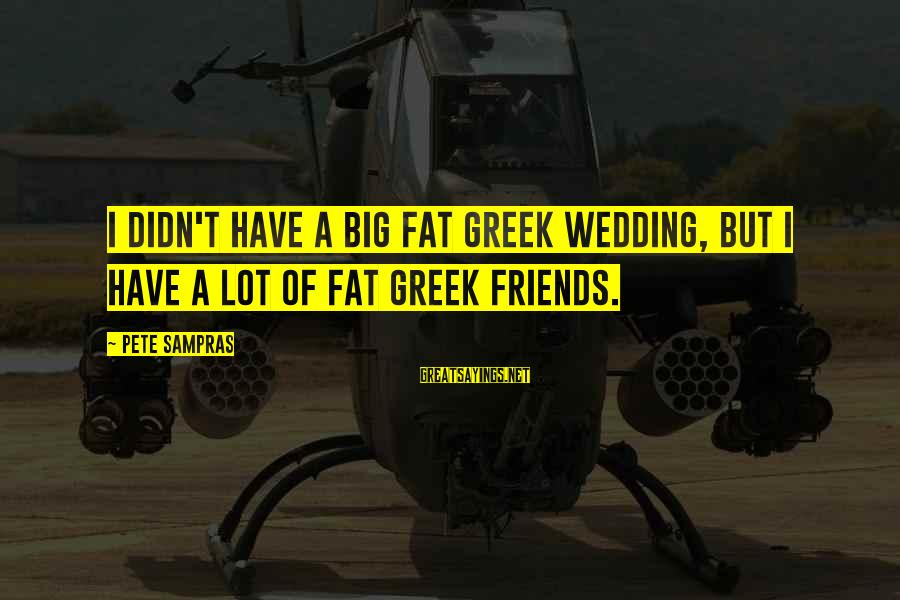 Fat Friends Sayings By Pete Sampras: I didn't have a big fat Greek wedding, but I have a lot of fat