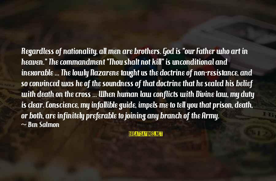 """Father Divine Sayings By Ben Salmon: Regardless of nationality, all men are brothers. God is """"our Father who art in heaven."""""""
