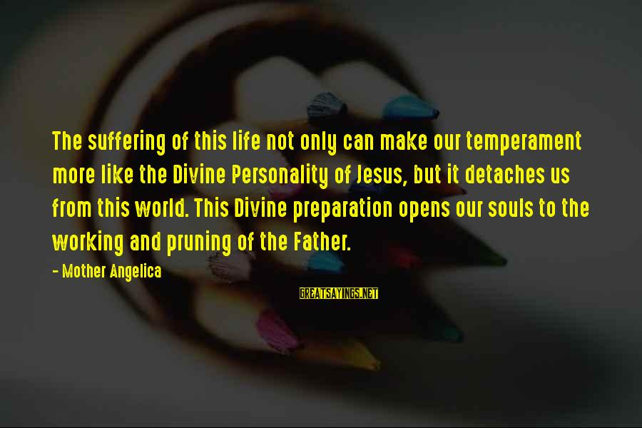 Father Divine Sayings By Mother Angelica: The suffering of this life not only can make our temperament more like the Divine