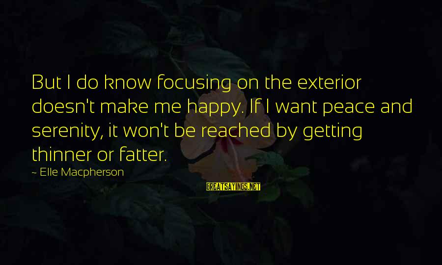 Fatter Than Sayings By Elle Macpherson: But I do know focusing on the exterior doesn't make me happy. If I want