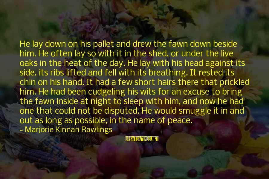 Fawn Sayings By Marjorie Kinnan Rawlings: He lay down on his pallet and drew the fawn down beside him. He often