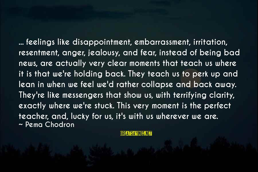 Fear Holding You Back Sayings By Pema Chodron: ... feelings like disappointment, embarrassment, irritation, resentment, anger, jealousy, and fear, instead of being bad