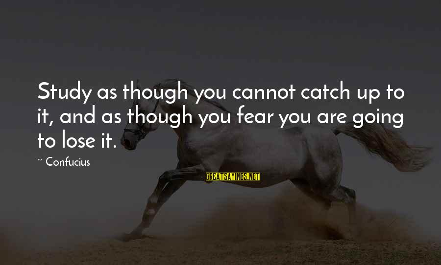 Fear To Lose You Sayings By Confucius: Study as though you cannot catch up to it, and as though you fear you