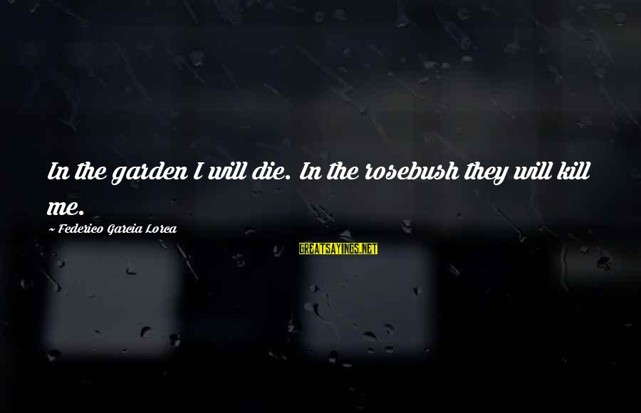 Federico Sayings By Federico Garcia Lorca: In the garden I will die. In the rosebush they will kill me.