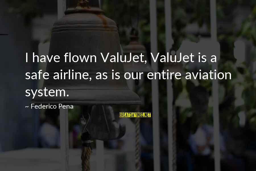 Federico Sayings By Federico Pena: I have flown ValuJet, ValuJet is a safe airline, as is our entire aviation system.