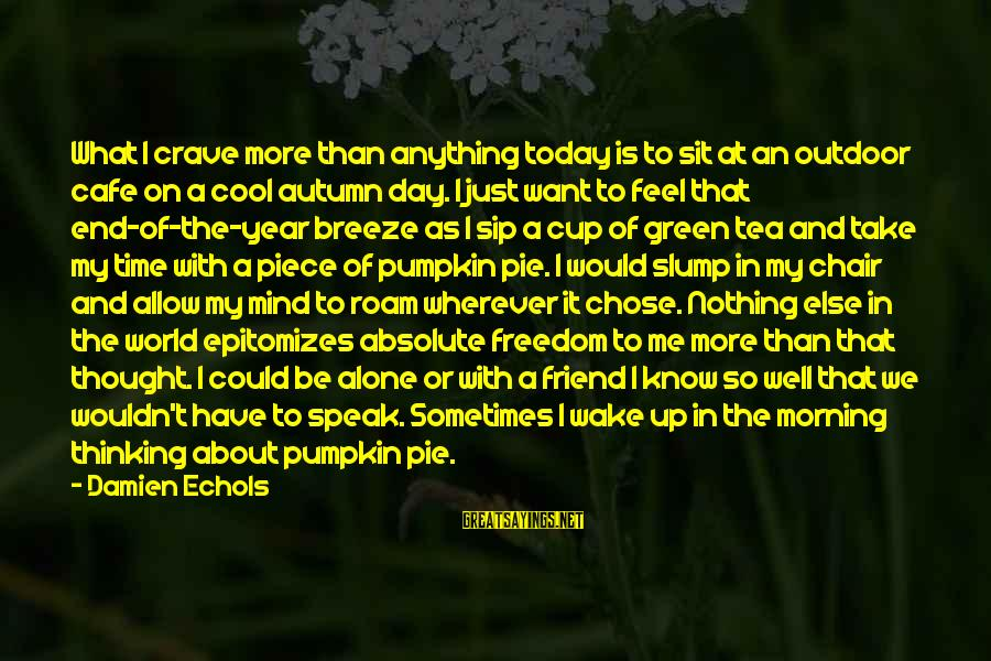Feel So Alone Sayings By Damien Echols: What I crave more than anything today is to sit at an outdoor cafe on
