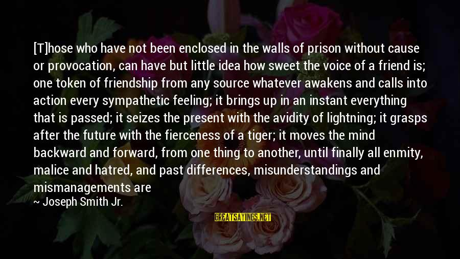 Feeling Enclosed Sayings By Joseph Smith Jr.: [T]hose who have not been enclosed in the walls of prison without cause or provocation,