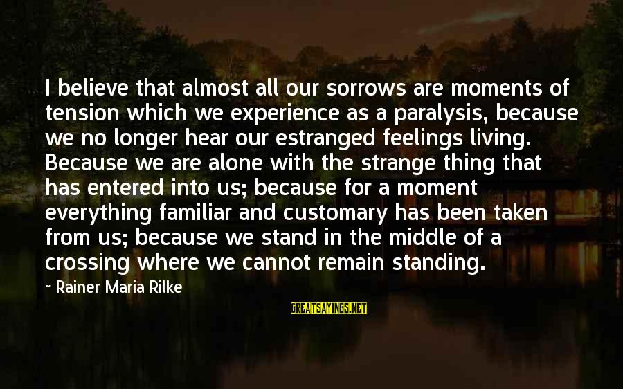 Feelings Alone Sayings By Rainer Maria Rilke: I believe that almost all our sorrows are moments of tension which we experience as