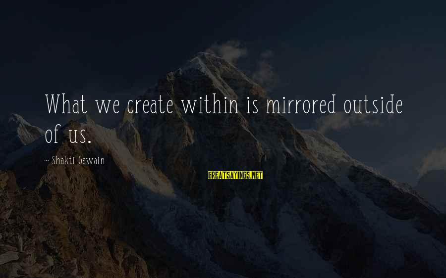 Fell In Love With My Best Guy Friend Sayings By Shakti Gawain: What we create within is mirrored outside of us.